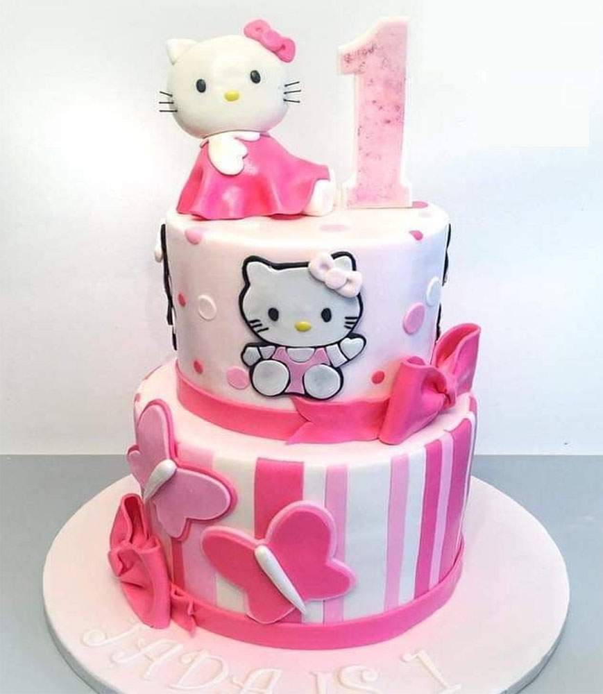 Hello Kitty Theme Cake 1 Midnight Cake Delivery Online Cake Delivery In Hyderabad Cakes Corner
